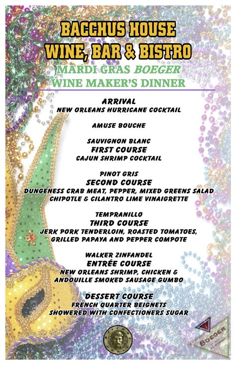 mardi gras dinner menu mardi gras wine maker s dinner sold out bacchus house