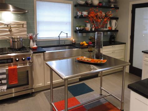 metal island kitchen stainless steel kitchen islands hgtv