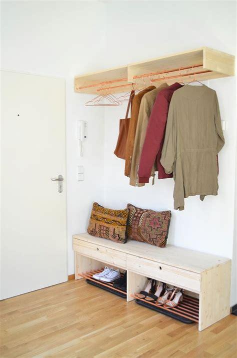 Flurgarderobe Selbst Gebaut by Make It Boho Diy Holz Kupfer Garderobe Und Schuhbank