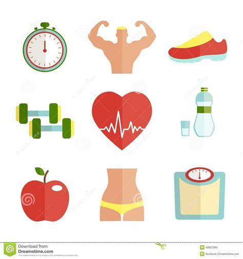 vegetables esports sistema de iconos planos de la salud y deporte