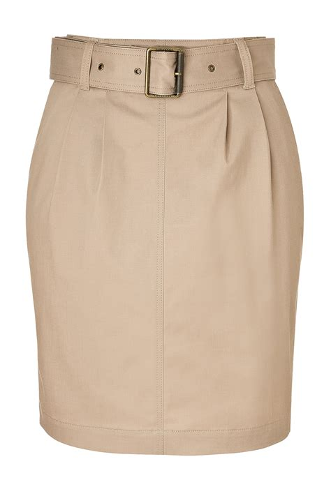 burberry brit pencil skirt with belt in khaki lyst