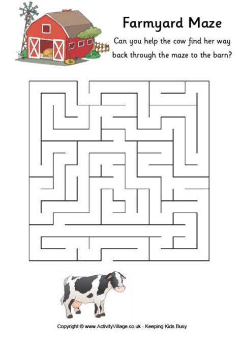 Easy Autumn Crafts Kids - cow maze