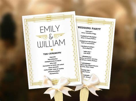Wedding Fans Great Gatsby Program Template Diy Roaring Twenties Fan Program Art Deco Program Deco Wedding Program Template