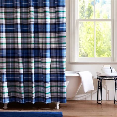plaid shower curtains portsmith plaid shower curtain navy pbteen