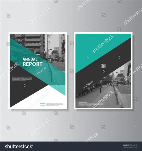 template design green annual report leaflet brochure flyer stock vector