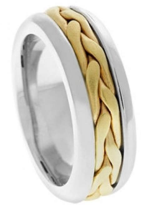 Handmade Gold Wedding Bands - 14k two tone band mens wedding band gold ring two tone