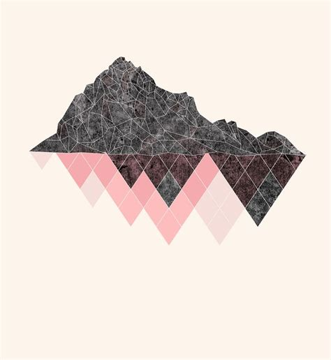 pattern lock triangle mountains illustration print kids room decor