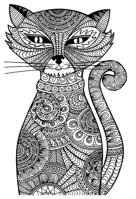 cat zentangle coloring page free coloring page coloring adult cat cat with zentangle