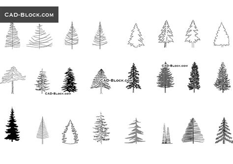 tree templates for autocad coniferous trees cad blocks free download