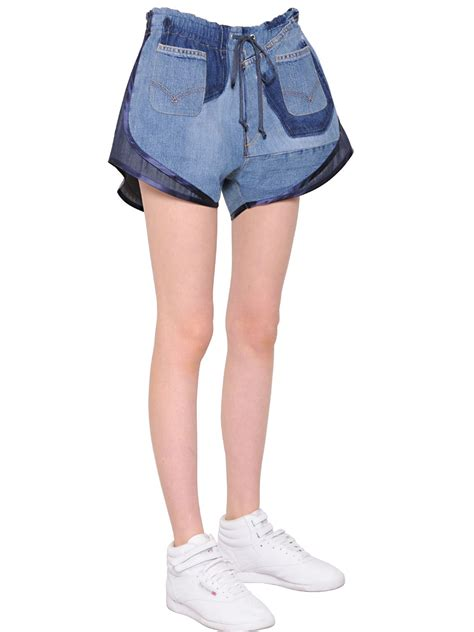 Patchwork Denim Shorts - vinti patchwork cotton denim shorts in blue lyst