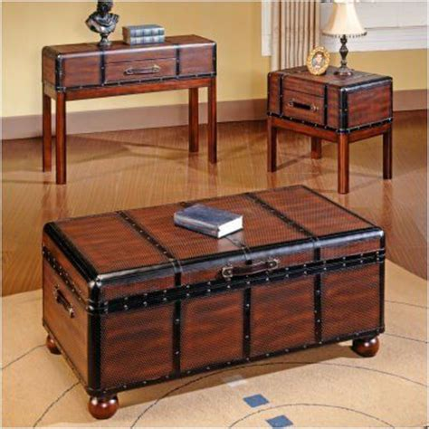 Trunk Coffee Table Set Bundle 98 Pacific Trunk Coffee Table Set 2 Pieces By Steve Silver Furniture 621 00