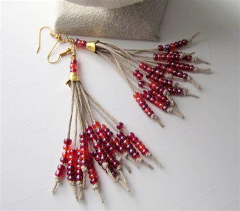 hemp earrings seed bead tassel earrings beaded
