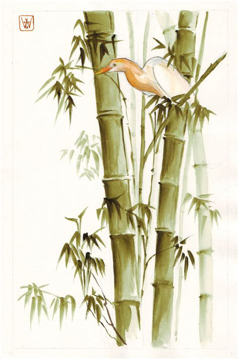 Drawing Of A Bamboo Tree by Bamboo And Heron By Emmawood On Deviantart