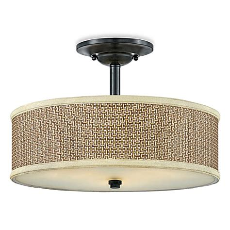 Rattan Ceiling Light Buy Zen Semi Flush 3 Light Ceiling Light In Rattan And Mystic Black From Bed Bath Beyond