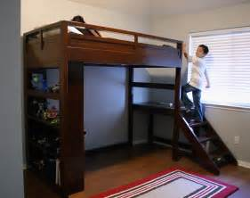 Low Cost Platform Bed Plans by Ana White Camp Loft Bed W Stairs Diy Projects