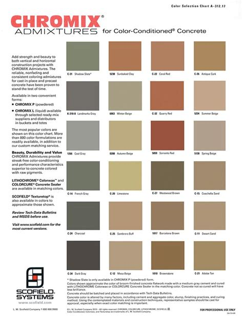 scofield color chart integral colors kuert