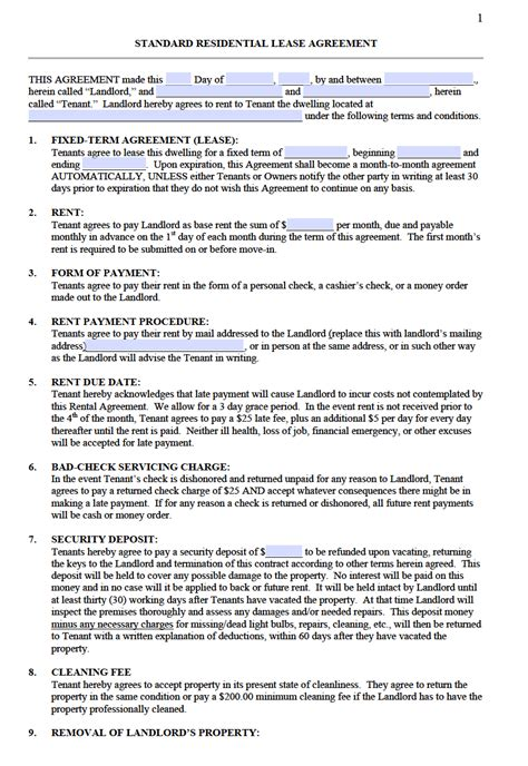 standard lease agreements free standard residential lease agreement templates pdf