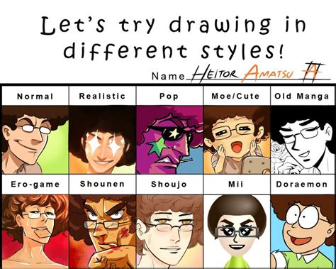 Different Kinds Of Memes - meme 3 let s try drawing in different styles by hamatsu