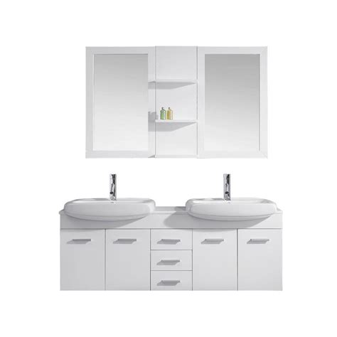Ophelia Vanity by Virtu Usa Ophelia 60 In W X 19 In D Vanity In White With Vanity Top In White With White