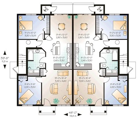 2 family home plans multi family plan 64825 at familyhomeplans com