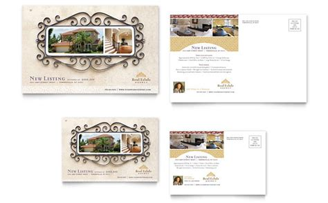 Luxury Real Estate Postcard Template Design Real Estate Postcard Templates