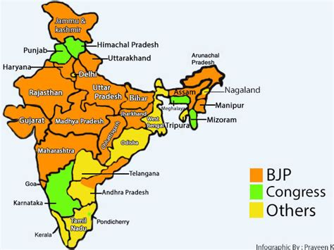 Infographic: States ruled by the BJP in 2017   Oneindia