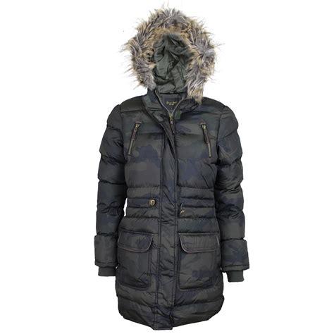 Camouflage Zip Coat womens brave soul camouflage camo parka fur
