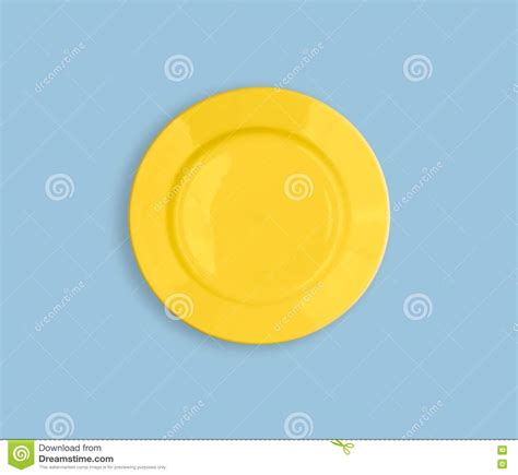 Top Yellow Sy yellow plate on sky blue like sun top view stock images