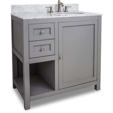 Faucet 8 Inch Spread 36 Inch Grey Finish Single Bathroom Vanity Carrera Marble
