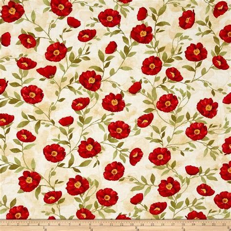 pattern for fabric poppy poppy celebration poppies all over red cream discount