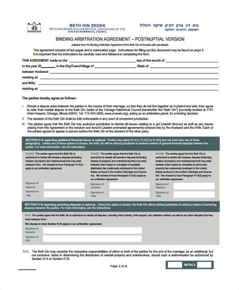Sle Postnuptial Agreement Forms 7 Free Documents In Word Pdf Post Nuptial Agreement Template