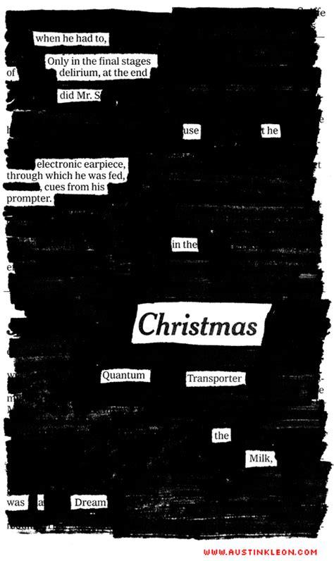 night  christmas  newspaper blackout poem austin kleon