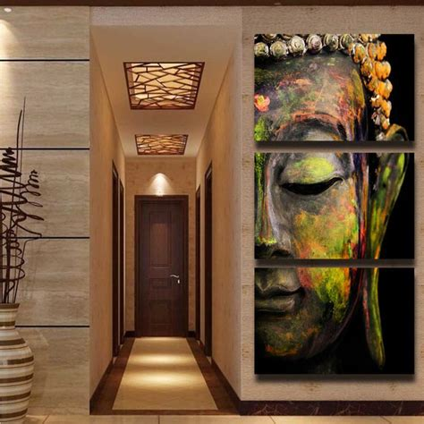 buddha paintings for living room 3 panel hd printed painting colorful buddha canvas print modern home decor wall picture