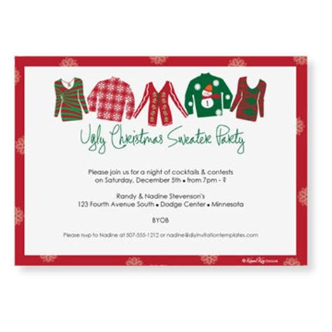 sweater card template sweater invitation template by
