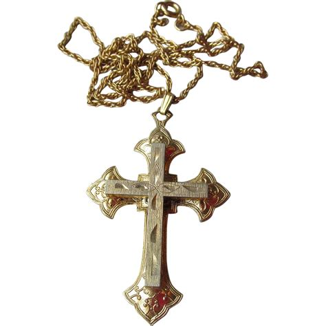 antique rolled gold cross pendant necklace from