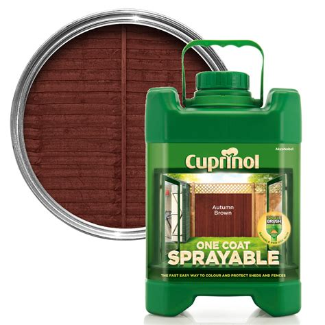 cuprinol  coat sprayable autumn brown shed fence