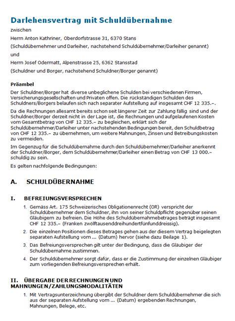Muster Darlehensvertrag Darlehensvertrag Mit Schuld 252 Bernahme Muster Zum