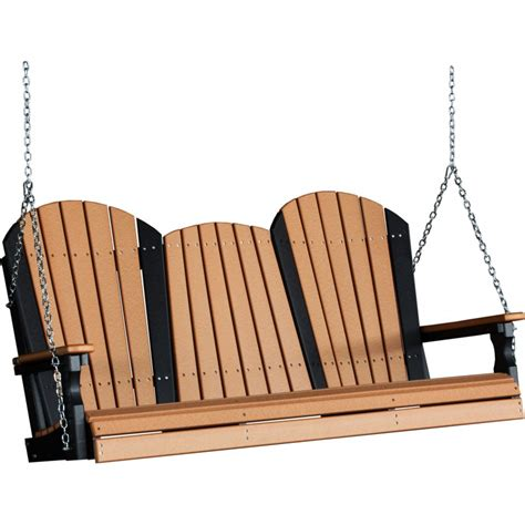5 foot swing poly 5 foot adirondack outdoor porch swing cedar and black