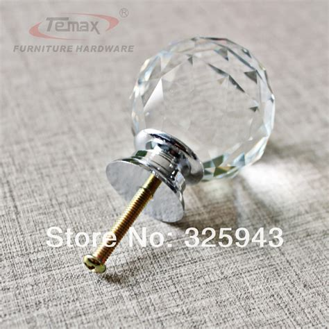 glass dresser door knobs 2x40mm clear glass cabinet drawer knobs and
