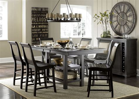 distressed dining room sets willow distressed black rectangular counter height dining