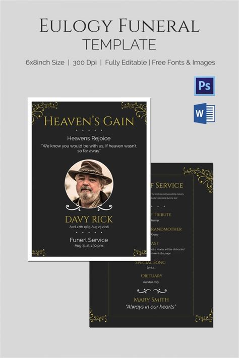 Eulogy Funeral Template 5 Word Psd Format Download Free Premium Templates Tribute Templates For A Funeral
