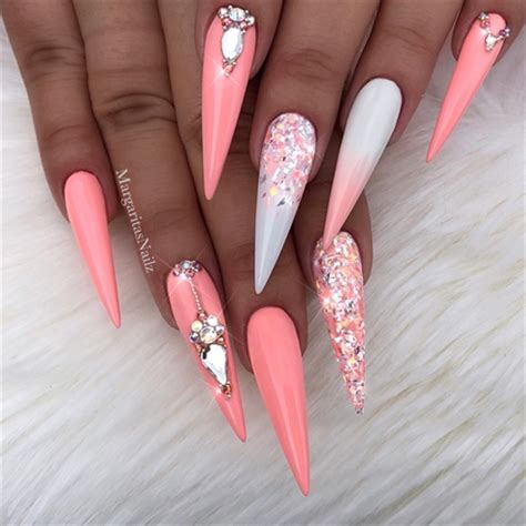coral white ombre bling stilettos nail art gallery