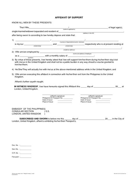 Affidavit Of Support Letter From Employer Affidavit Bagnas Affidavit Of Support Sle Documents Free Printable