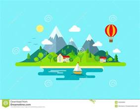 travel mountains island landscape and sailing color flat
