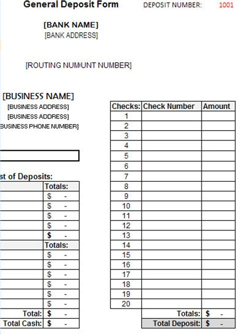 bank deposit form template bank deposit slip