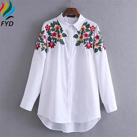 Floral Embroidered Shirts White floral embroidered blouse shirt slim white tops