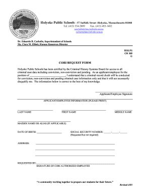 Criminal Offender Record Information Cori Acknowledgement Form Where To Bring Holyoke Cori Form Fill Printable Fillable Blank Pdffiller