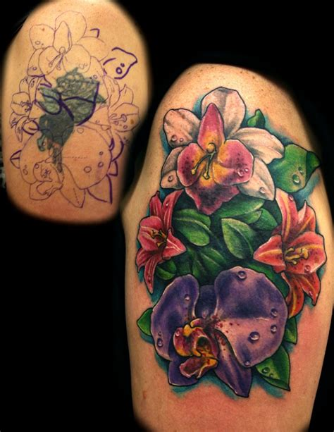 flower tattoo cover up by jackie rabbit by jackierabbit12