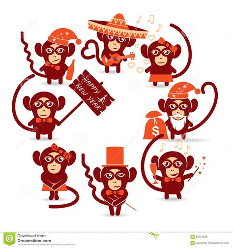 happy new year monkey happy new year monkey stock vector image 62121028