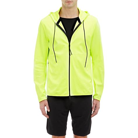 Jaket Hoody Pique lyst theory tech pique hoodie jacket yellow size l in yellow for